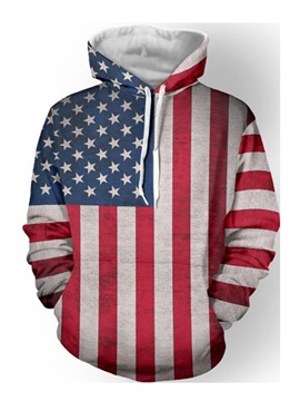 Leisure American Flag Pullover Mens Hoodies