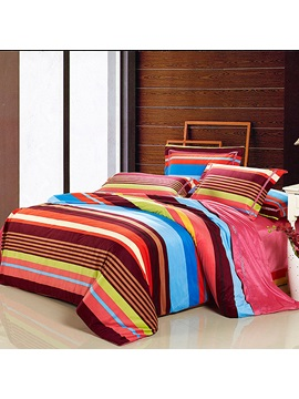 Wannaus Colorful Stripes Prints Cotton 4 Piece Duvet Cover Sets