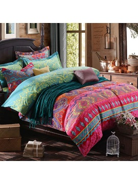 Wannaus Tribal Bohemian Prints Cotton 4 Piece Duvet Cover Sets