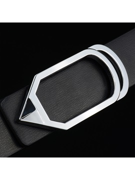 Geometric Alloy Leather Smooth Buckle Classical Mens Belts