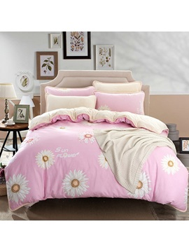 Wannaus White Daisy Prints Cotton 4 Piece Pink Duvet Cover Sets