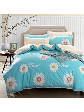 Wannaus Pink Daisy Prints Cotton 4 Piece Blue Duvet Cover Sets