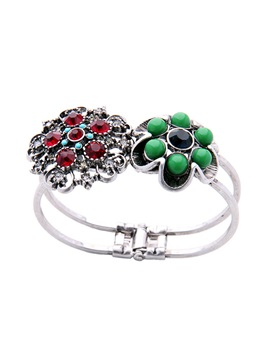 Colorful Balls Rhinestone Flower Hollow Out Alloy Vintage Bracelets Bangles