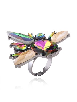 Punk Geometric Rhinestone Alloy Exotic Adjustable Rings
