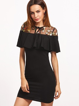 Vogue Black Short Sleeve Womens Bodycon Dress