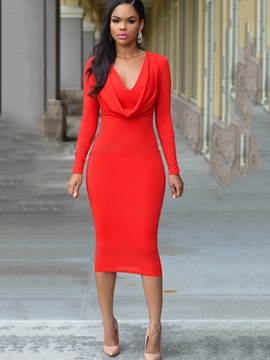 Slim Solid Color Long Sleeve Womens Bodycon Dress