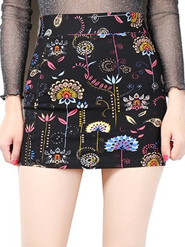 Slim Plus Size Printed Bodycon Mini Skirt