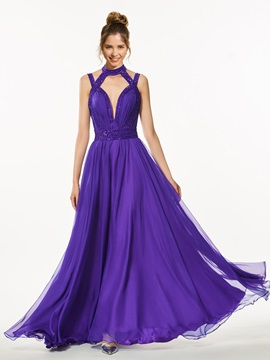 A Line High Neck Backless Beading Prom Dress