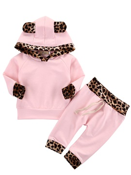 Cute Leopard Print Hooded Baby Girls Top And Pants