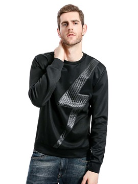 Lightning Printing Fashion Round Neck Slim Mens Hoodies