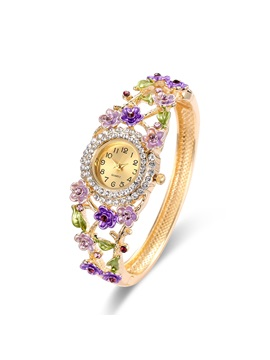 Colorful Flower Shaped Metal Crystal Stone Hollow Gold Tone Bangle Watches