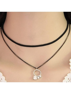 Rhinestone Rings Pendant Double Layer Rope Link Chain European Choker Necklace