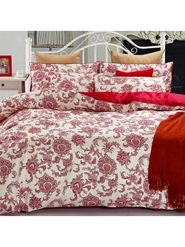 Wannaus Red Jacobean Pattern Cotton 4 Piece Duvet Cover Sets
