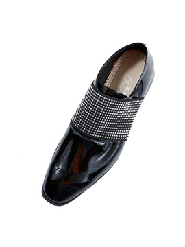Faux Leather Rhinestone Square Toe Mens Shoes
