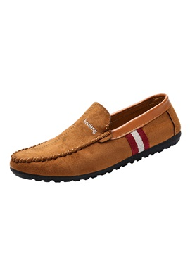 Faux Suede Round Toe Stripe Slip On Mens Shoes