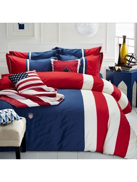 Wannaus Blue Red Stripes Print 4 Piece Cotton Queen Size Duvet Cover Sets