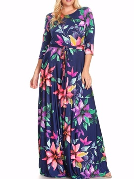 Fashion Floral Imprint Long Sleeve Plus Size Maxi Dress
