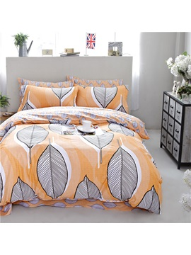 Wannaus Leaves Stripe Pattern Full Size Cotton 4 Piece Duvet Cover Sets