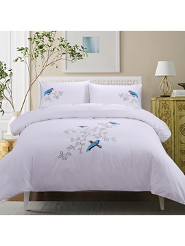 Wannaus Blue Bird Prints Embroidery Cotton 4 Piece Duvet Cover Sets