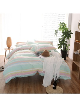 Wannaus Colorful Stripes Print Cotton 4 Piece Duvet Cover Sets