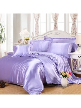 Wannaus Luxury Solid Lilac 4 Piece Silky Duvet Cover Sets