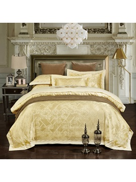 Wannaus Light Yellow Jacquard Print 4 Piece Silky Duvet Cover Sets