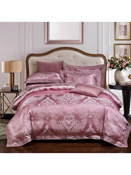 Wannaus Luxury Light Purple Jacquard Print 4 Piece Duvet Cover Sets