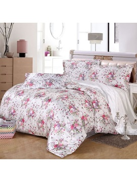 Wannaus Pink Floral Print Silky 4 Piece Full Size Duvet Cover Sets