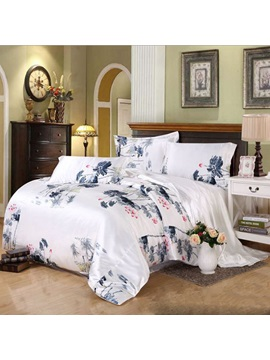 Wannaus Noble Ink Lotus Print Silky 4 Piece Full Size Duvet Cover Sets