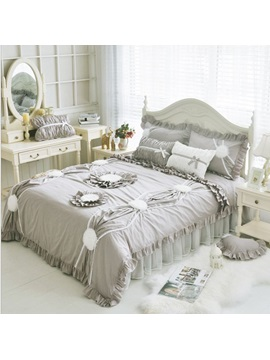Wannaus Romantic Grey Exquisite Applique 4 Piece Cotton Lace Duvet Cover Sets