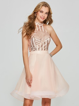 Charming A Line Sequins Backless Halter Short Homecoming Dress