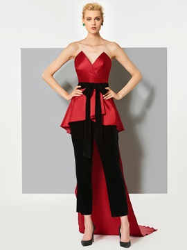 Modern Sheath Bowknot Sashes Sweetheart Court Train Jumpsuit