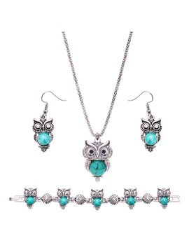 Owl Pattern Turquoise Stone Silver Alloy Three Piece Jewelry Sets
