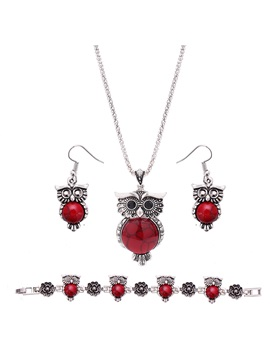 Red Stone Owl Beads Chain Silver Metal Vintage Two Piece Jewelry Sets