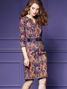 Floral Imprint Long Sleeve Womens Bodycon Dress