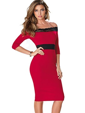 Red Boat Neck Long Sleeve Bodycon Dress