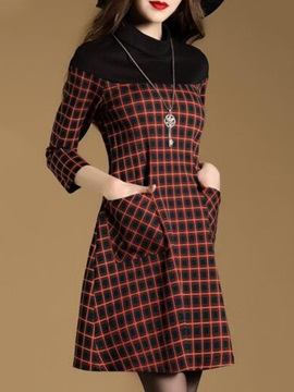 Plaid Long Sleeve Womens Short Day Dress