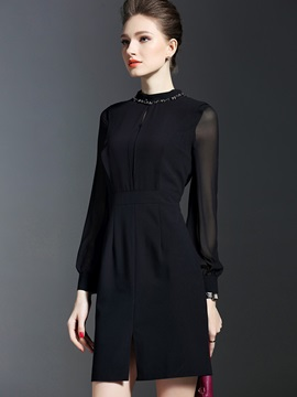 Simple Black Long Sleeve Round Neck Bodycon Dress