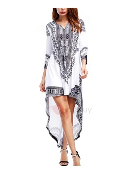 Ethic Stamp Asymmetric Long Sleeves Womens Dress