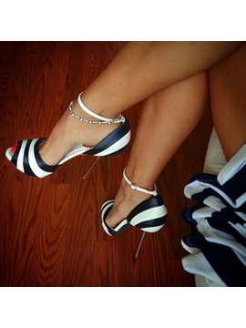 Peep Toe Stripe Stiletto High Heel Pump