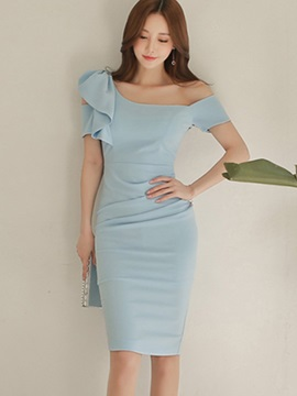 Pure Color Short Sleeve Womens Bodycon Dress