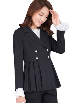 Notched Lapel Plain Pleated Blazer