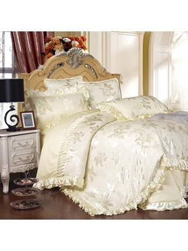 Wannaus Luxury Flowers Jacquard Solid White 6 Piece Cotton Sateen Duvet Cover Sets