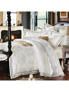 Wannaus Luxury White Satin Drill Lace Edging 4 Piece Duvet Cover Set
