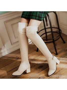 Pu Buckle Block Heel Plain Womens Fashion Boots
