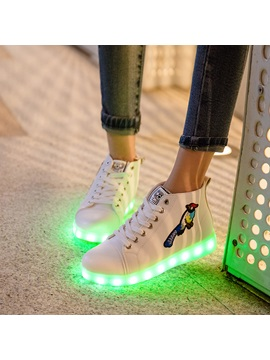 Pu Embroidery Led Light Animal Womens Sneakers