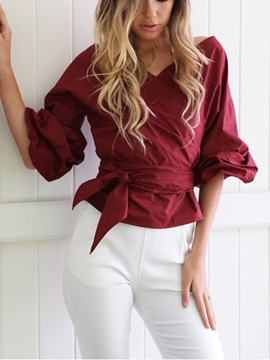 V Neck Lantern Sleeves Womens Blouse