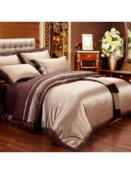 Wannaus Royal Style Golden Jacquard 6 Piece Duvet Cover Sets