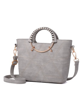 Concise Circular Ring Handle Women Satchel