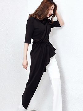Black Half Sleeve Mid Length Blouse